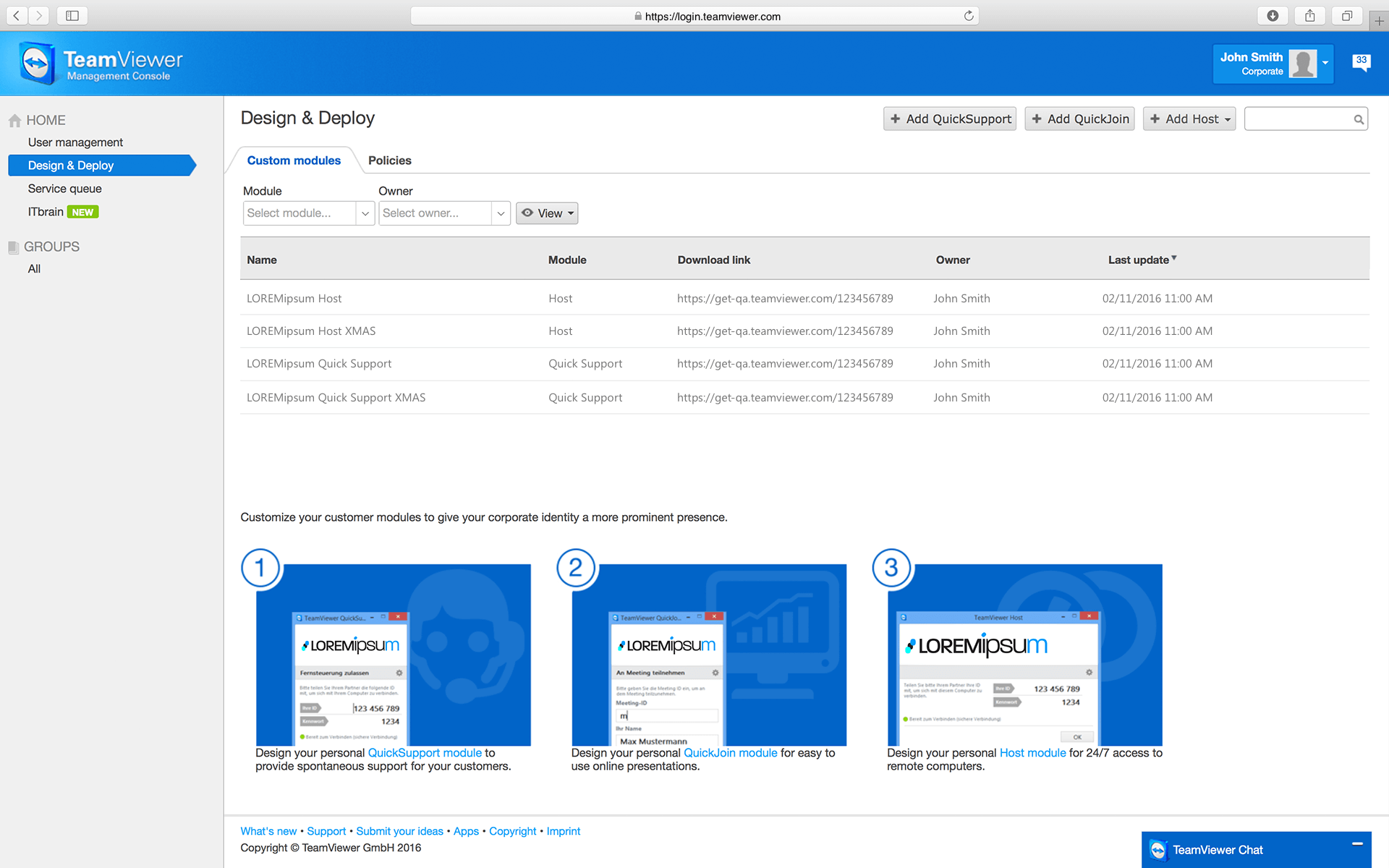 Create customized modules using the TeamViewer Management Console.