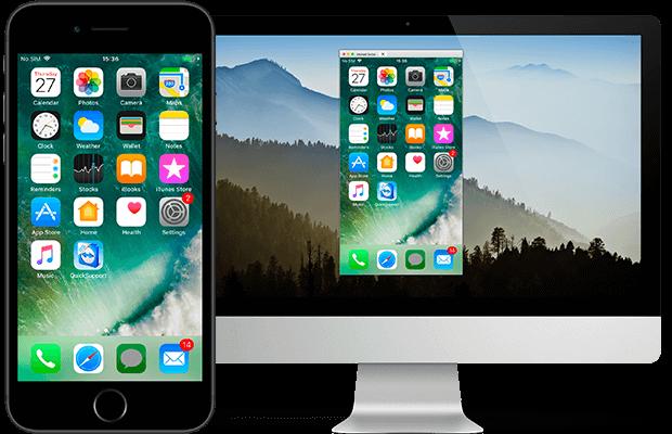 TeamViewer connexion à un iPhone depuis un ordinateur via le partage d'écran iOS.