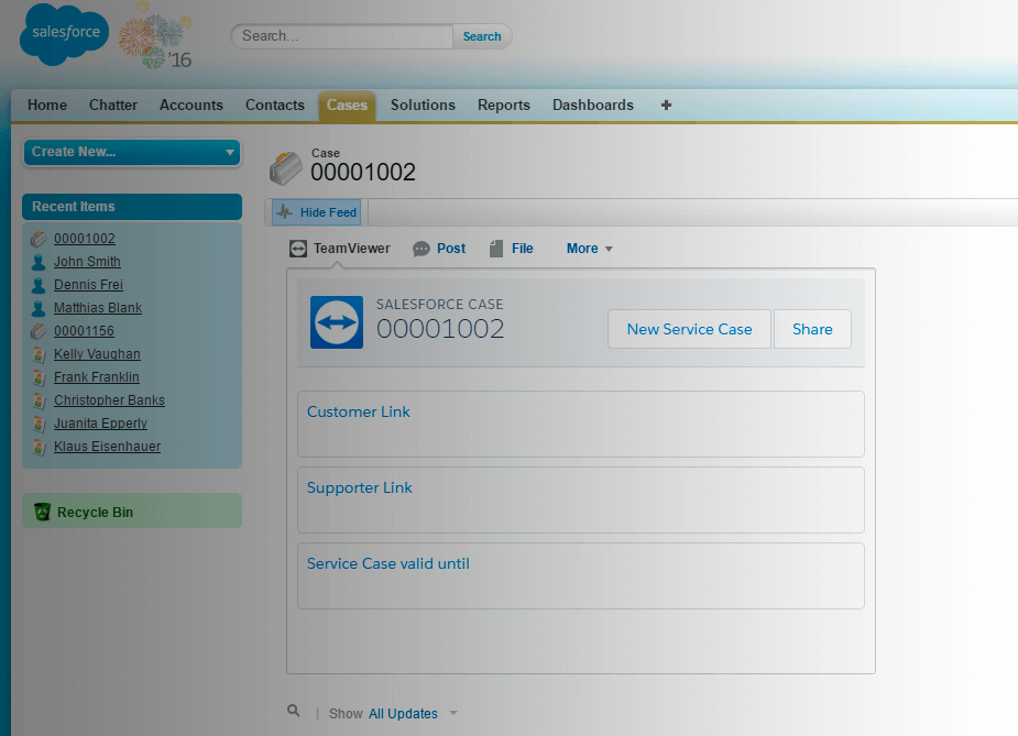 Cho phép phiên hỗ trợ từ bên trong trường hợp Salesforce.