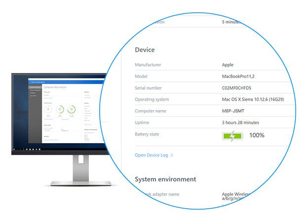 На панели удаленного управления устройством доступны дополнительные сведения об удаленном устройстве