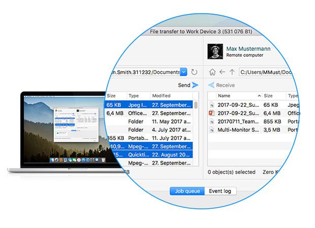 Интуитивно понятный интерфейс передачи файлов с помощью TeamViewer