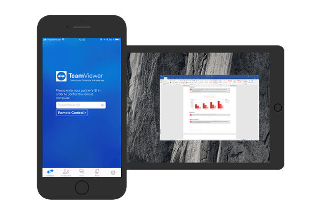 Use TeamViewer for outgoing remote connections with iOS.