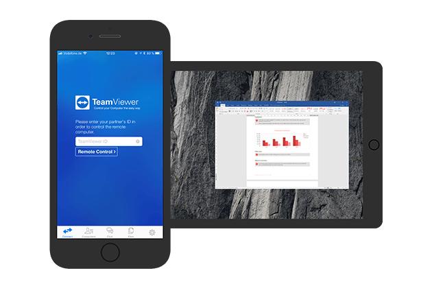Nutzen Sie TeamViewer für ausgehende Verbindungen mit iOS.