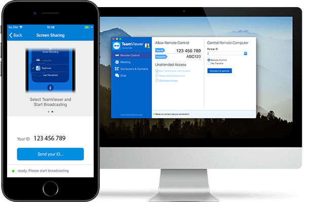 TeamViewer QuickSupport installé sur un iPhone et prêt pour le partage d'écran