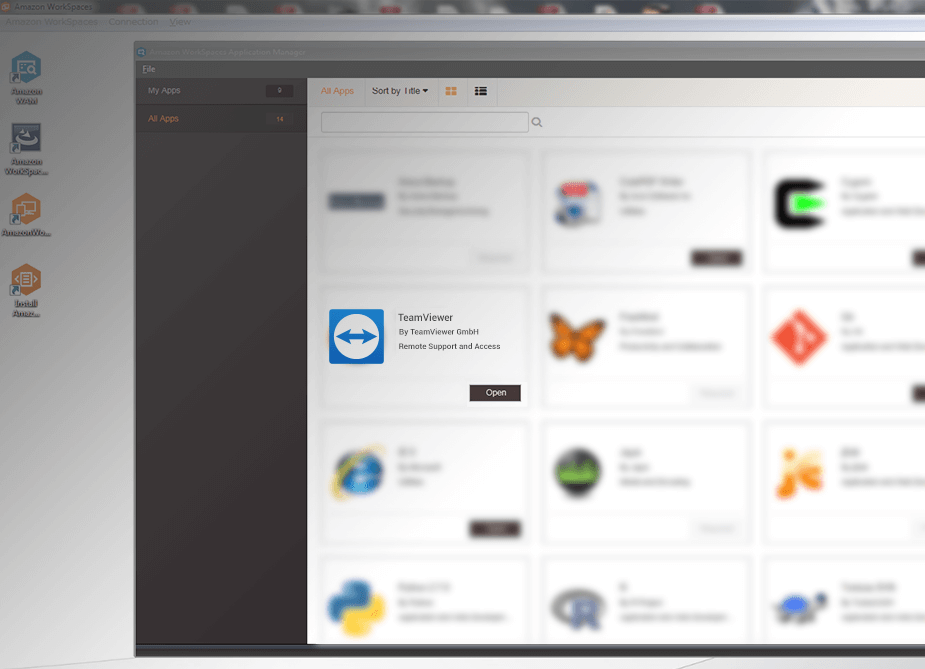 Active TeamViewer en el AWS WorkSpaces Marketplace.
