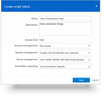 Create a new script that can be used with your own TeamViewer account | Screenshot