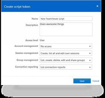 Creaţi un script nou care poate fi utilizat cu propriul cont TeamViewer | Captură de ecran