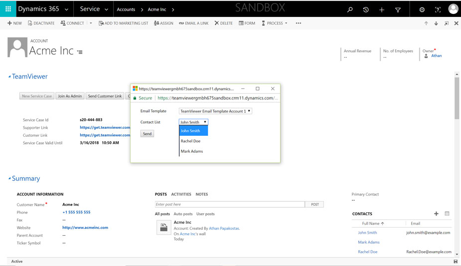 Електронна поща, използваща интегриране на TeamViewer с Microsoft Dynamics