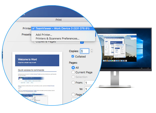 Remote printing using TeamViewer