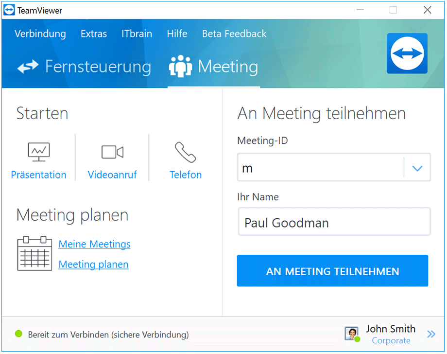 Spontane und geplante Online Meetings veranstalten.