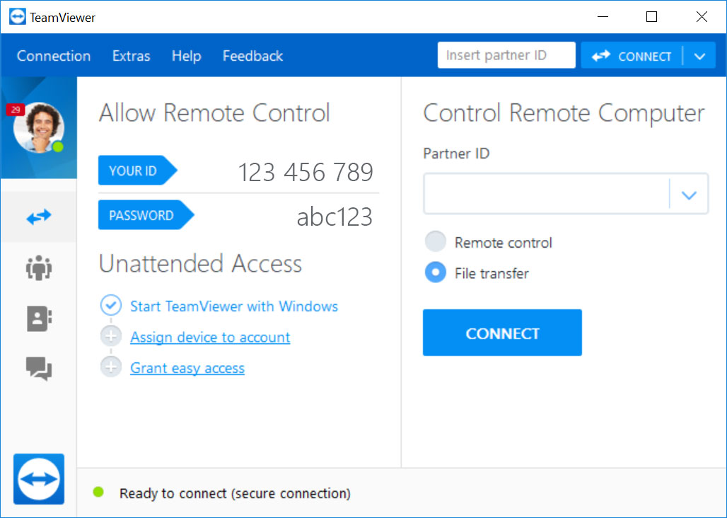 Use TeamViewer for remote support and remote access.