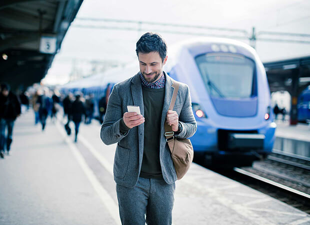 Business professionals on the go can use mobile devices to work remotely.