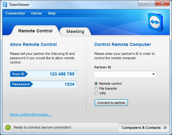 Screenshot vom Programm: TeamViewer