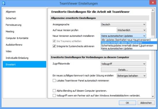 Automatisches Update für TeamViewer in den TeamViewer-Einstellungen aktivieren.