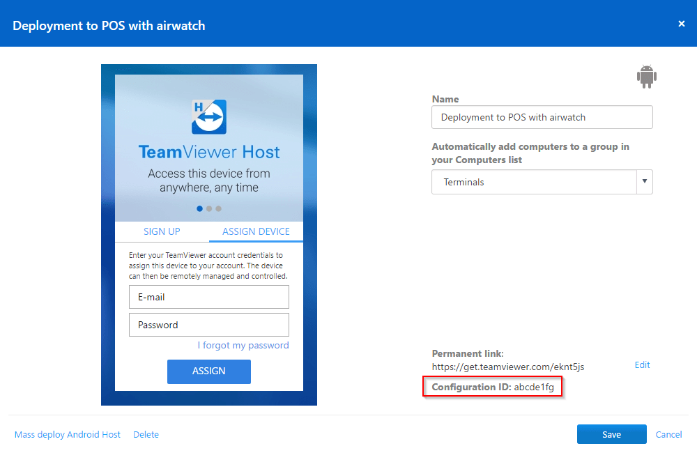 Deploy TeamViewer Host for Android and assign the devices to a