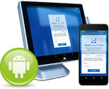 Point of sales and mobile device with TeamViewer Host app and Android icon