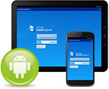 Tablet and mobile device with TeamViewer QuickSupport app and Android icon