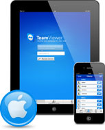 iPad dan iPhone dengan ikon Apple dan aplikasi iPhone TeamViewer