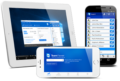 mobile devices: iPad, iPhone, and Samsung Galaxy S2 Android running TeamViewer
