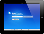 TeamViewer app startscreen on iPad tablet