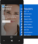 TeamViewer Windows Phone 8 app screen with mobile phone