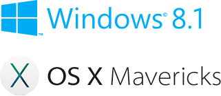 شعار نظام Windows 8.1 وشعار نظام Mac OS X Mavericks