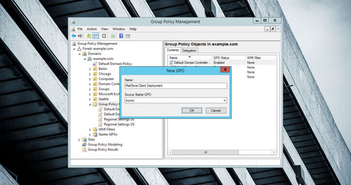 group policy management new GPO window