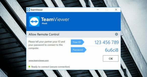 TeamViewer remote control ID and password
