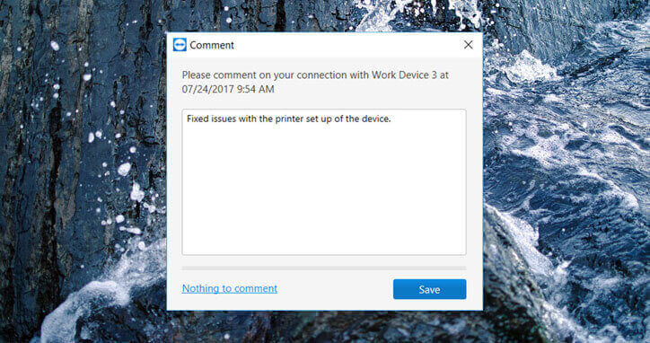 TeamViewer comment box
