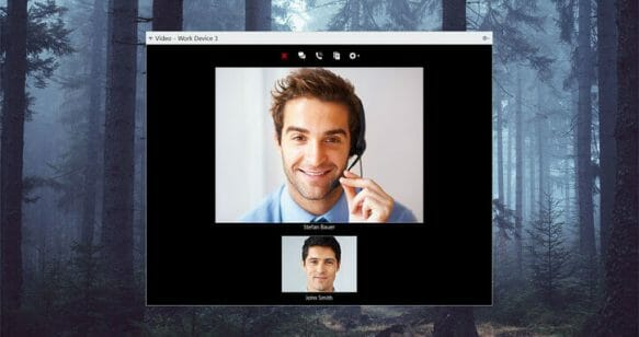 screenshot of an audio and video call