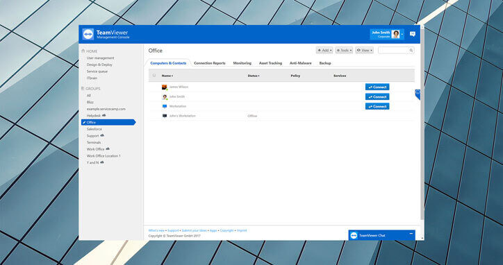 TeamViewer management console contact view