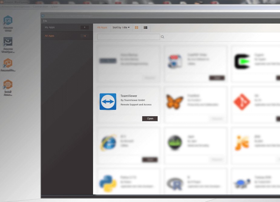 Activate TeamViewer in the AWS WorkSpaces Marketplace.