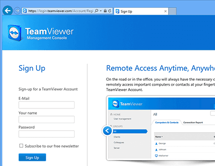 Create a TeamViewer account in the TeamViewer Management Console to develop a TeamViewer app or script with the TeamViewer API | Screenshot