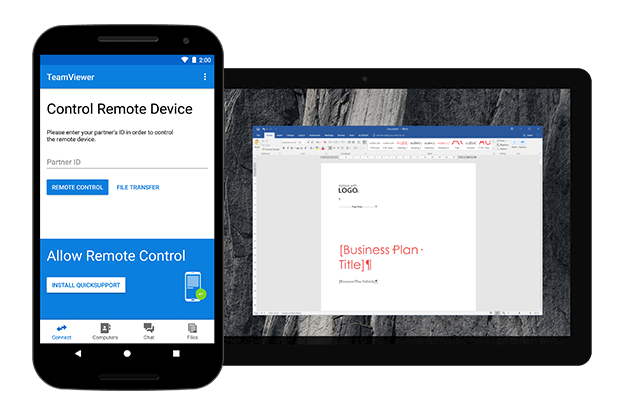 Use TeamViewer for outgoing remote connections with Android.