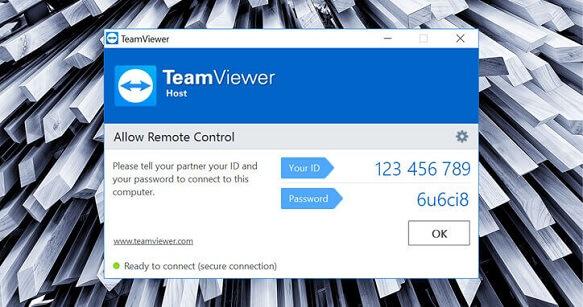 screenshot of TeamViewer software